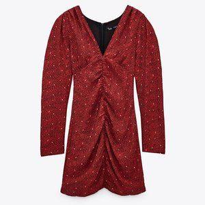 NEW Zara Red Printed Ruched Mini Dress Size Medium